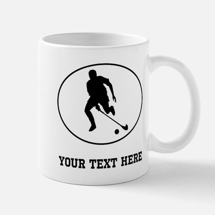 Field Hockey Player Silhouette Oval (Custom) Mugs