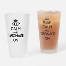 Keep Calm and ESPIONAGE ON Drinking Glass