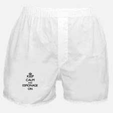Keep Calm and ESPIONAGE ON Boxer Shorts