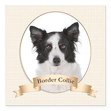 "Border Collie Square Car Magnet 3"" x 3"""