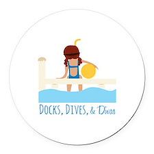 Docks Dives Divas Round Car Magnet