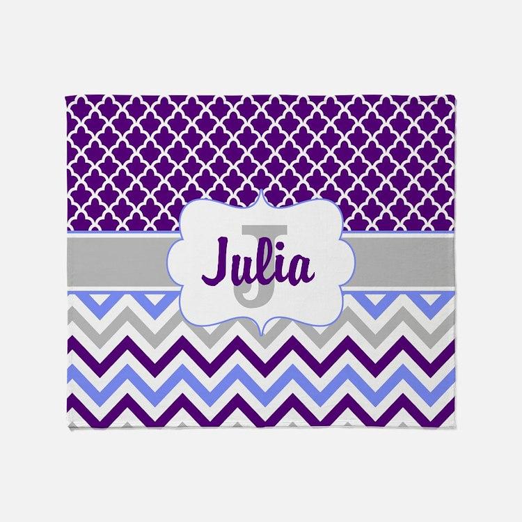 Cute Gray grey purple blue Throw Blanket