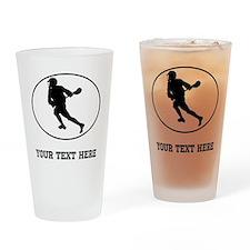 Lacrosse Player Oval (Custom) Drinking Glass