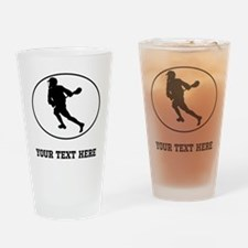 Lacrosse Player Oval (Custom) Drinking Glass