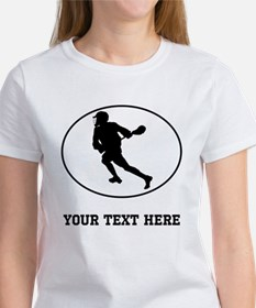 Lacrosse Player Oval (Custom) T-Shirt