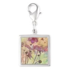 Flowery field forever Silver Square Charm