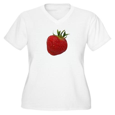 Strawberry Women's Plus Size V-Neck T-Shirt