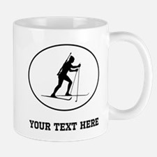 Biathlete Silhouette Oval (Custom) Mugs