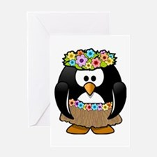 Hula Penguin Greeting Cards