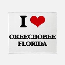 I love Okeechobee Florida Throw Blanket