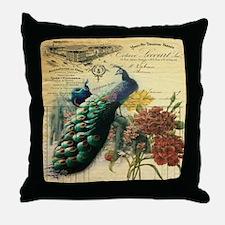 Paris vintage peacock  Throw Pillow