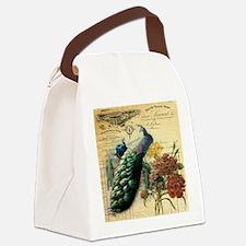 Paris vintage peacock  Canvas Lunch Bag