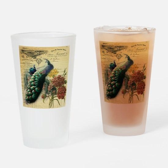Paris vintage peacock  Drinking Glass