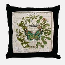 vintage botanical art butterfly Throw Pillow