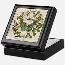 vintage botanical art butterfly Keepsake Box