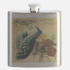 Paris vintage peacock  Flask
