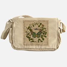 vintage botanical art butterfly Messenger Bag