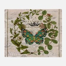 vintage botanical art butterfly Throw Blanket