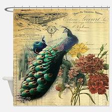 Paris vintage peacock  Shower Curtain