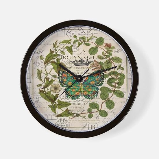 vintage botanical art butterfly Wall Clock