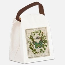 vintage botanical art butterfly Canvas Lunch Bag