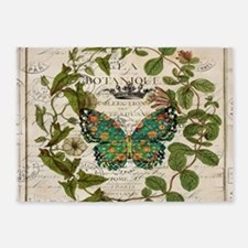 vintage botanical art butterfly 5'x7'Area Rug