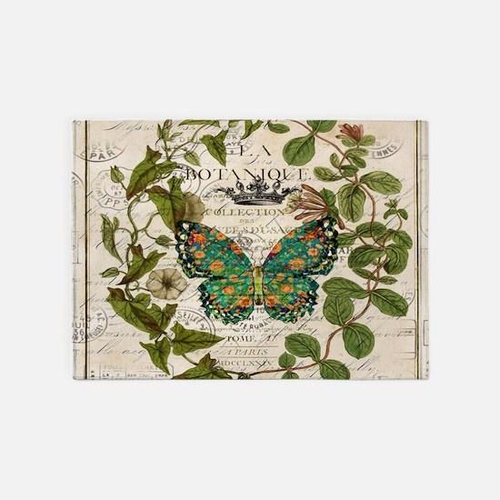vintage botanical art butterfly 5'x7'Area Rug