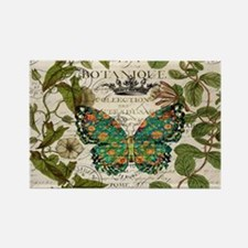 vintage botanical art butterfly Magnets