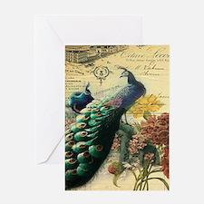 Paris vintage peacock Greeting Cards