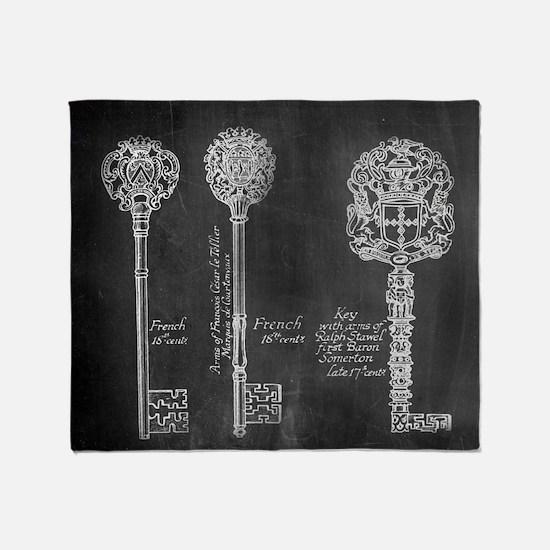 chalkboard french vintage keys  Throw Blanket