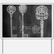 chalkboard french vintage keys Yard Sign