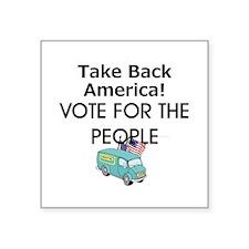 "Take Back America Square Sticker 3"" x 3"""