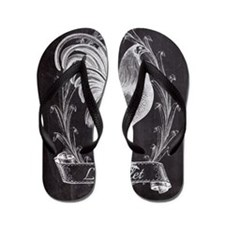 chalkboard french country rooster Flip Flops