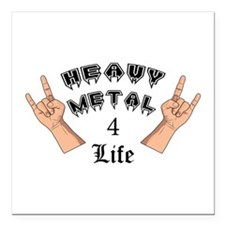"Heavy Metal 4 Life Square Car Magnet 3"" x 3"""
