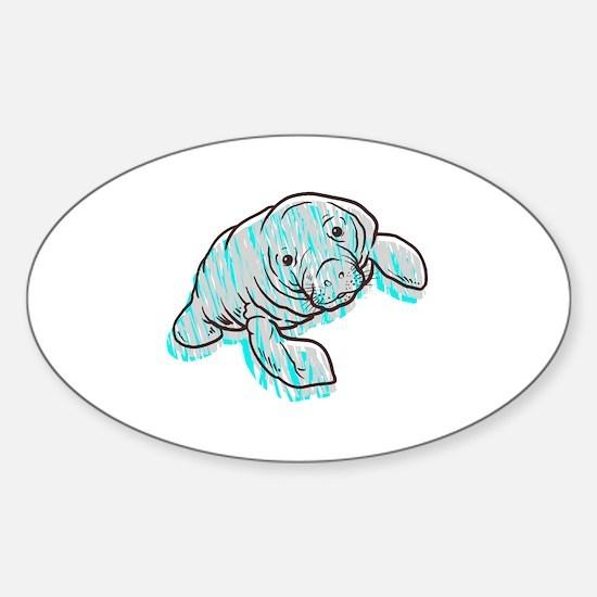 Scribble Scrabble Manatee Sticker (Oval)