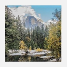 Autumn Mountain & River Scene Tile Coaster