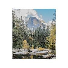Autumn Mountain & River Scene Throw Blanket
