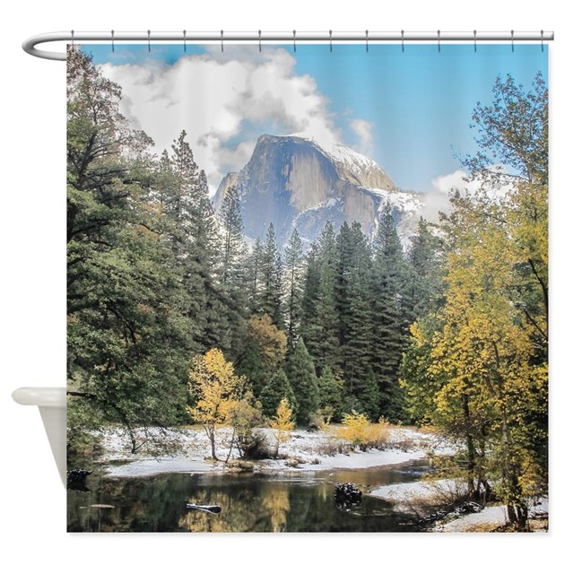 Light Blue Curtains Blackout Mountain Man Shower Curtain