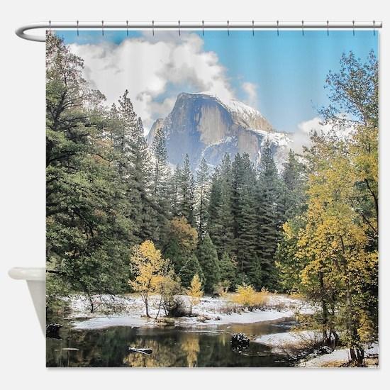 Autumn Mountain & River Scene Shower Curtain