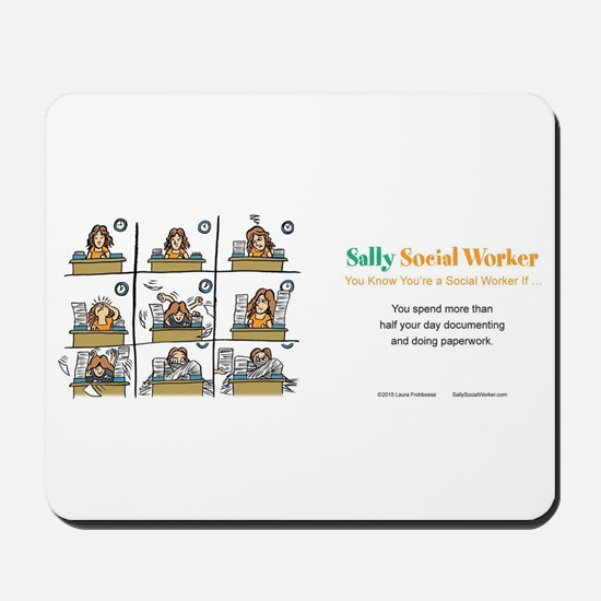 Sally Social Worker doing more paperwork Mousepad