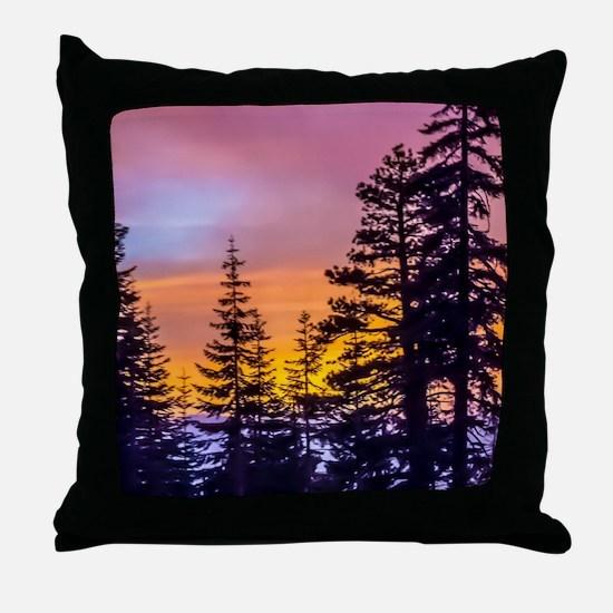 Evergreen Sunset Throw Pillow
