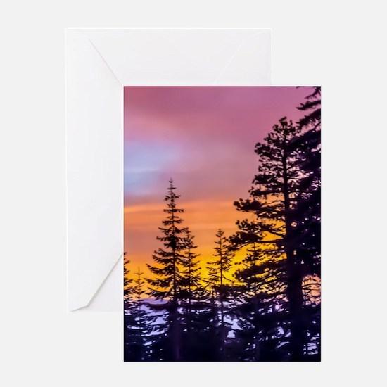Evergreen Sunset Greeting Card