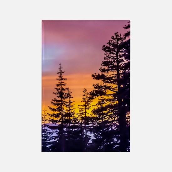 Evergreen Sunset Rectangle Magnet