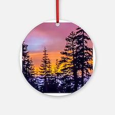 Evergreen Sunset Ornament (Round)