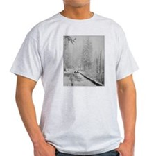Deer on a Snowy Mountain Road T-Shirt