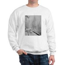 Deer on a Snowy Mountain Road Sweatshirt