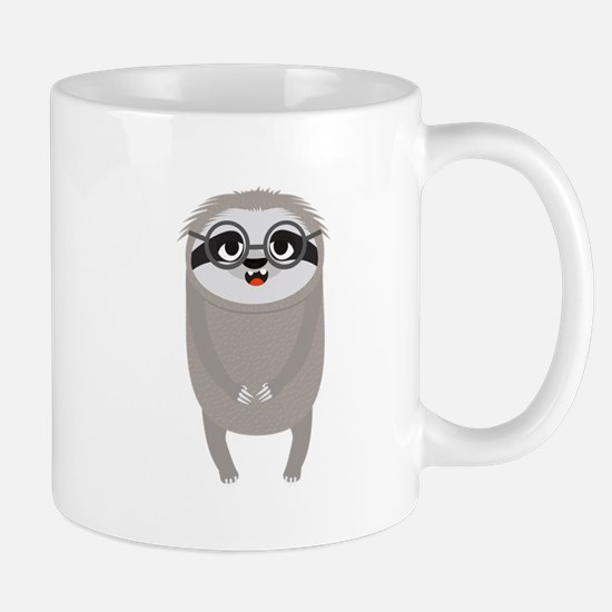 Nerd Sloth with Glasses Mugs