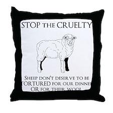Sheep Cruelty Throw Pillow