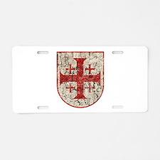 Jerusalem Cross, Distressed Aluminum License Plate