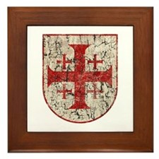 Jerusalem Cross, Distressed Framed Tile